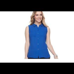 Apt.9 women's sleeveless button down top aerial pk